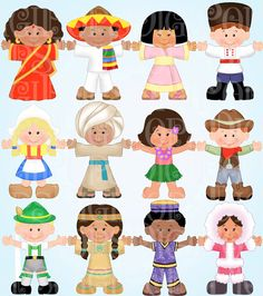 Children Around The World Digital Clip Art Set Personal And Commercial Child Ethnic Costumes Gl