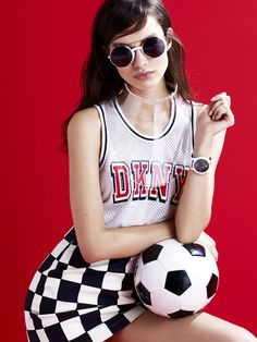 Vintage DKNY Mesh Tank, Vintage Versace Casual Chex Skirt & Alexander Shades #NastyGalVintage #WorldCup