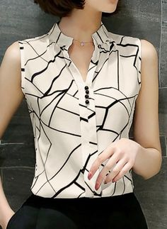 chiffon print blouse Picture - More Detailed Picture about 2017 New Summer Women Tops Casual Sleeveless V Neck Fashion Women Blouse Shirt Chiffon Print Blouses Ladies Blusas S XXL White Picture in Blouses & Shirts from women's fashion clothes store Casual Tops For Women, Blouses For Women, Ladies Tops, Women's Blouses, Modest Fashion, Fashion Dresses, Mode Inspiration, Blouse Designs, Casual Outfits