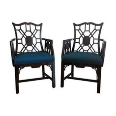 Chinese Style Chippendale Armchairs - A Pair - Chairish