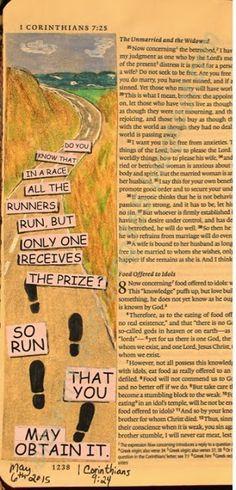Easy Bible Art Journaling Journey: 1 Corinthians 9:24 (May 6th)