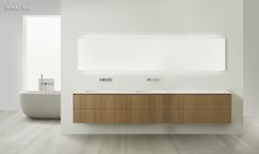 HiTech2 modern bathroom vanities are far more minimalist than those of the HiTech collection, slimmer countertops, sidewalls, and drawer and door faces.