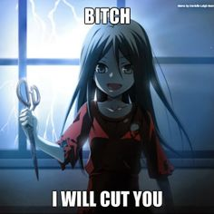 """I will cut you"" takes on a whole new meaning after watching Corpse Party<- or playing the game and show are so different!"