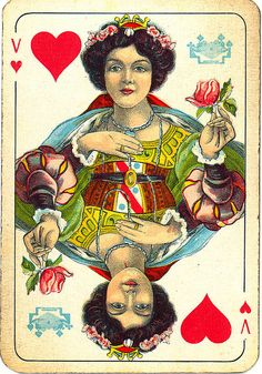 YIN WOOD SYMBOLISM Dutch playing cards from 1920-1927: Queen of Hearts by Michiel2005 on Flickr