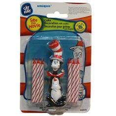 Dr Seuss Cat in the Hat Birthday Party Cake Topper and 6 Candles by jrpartystore