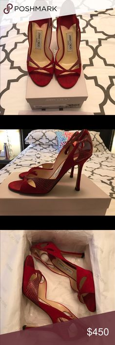 "Jimmy Choo red suede and snake heels Gorgeous red suede and snake sandals. 4"" heel. In box with sleeper bag. Gently worn. Smoke and pet free home. Jimmy Choo Shoes Heels"
