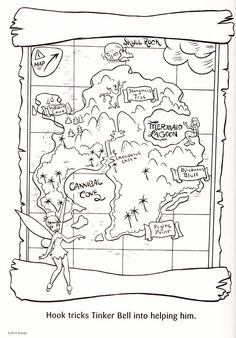 Peter Pan's Neverland map to color.
