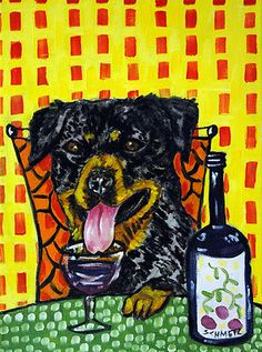 ROTTWEILER dog at the COFFEE SHOP picture dog art on Canvas Print schmetz gift