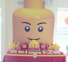 What a great backdrop at a Lego boy birthday party!  See more party ideas at CatchMyParty.com!