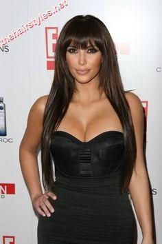 Kim Kardashian Long Hair with Bangs » Hairstyles - Celebrity Hair Styles & Haircuts