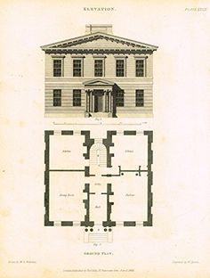 "Nicholson's Practical Builder - ""ELEVATION & GROUND PLAN -2 STORY HOUSE"" - Steel Engraving - 1836"