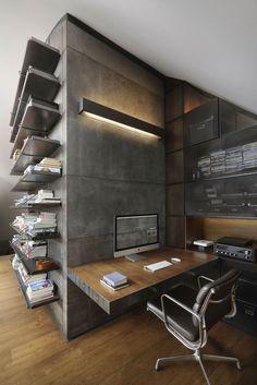 Домашний кабинет. Дизайн квартиры в стиле лофт: рабочее место http://goodroom.com.ua/mag/dizajn-kvartiry-v-stile-loft-v-bolgarii/  #Loft #Home_Office #Workspace #Interiors