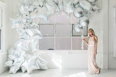 Silver Birthday Inspiration   foil balloon event decoration backdrop for photobooth or main wall behind food   pretty metallic hue theme