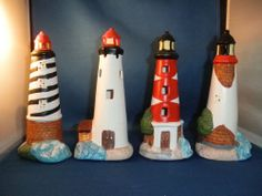 4 pc Ceramic Lighthouse Set Nautical Theme Home Room decor ocean sea statue