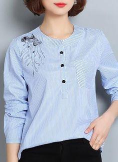 Listra Informal Algodão Em torno do pescoço Manga comprida Camisas
