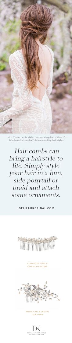 Hair combs can bring a hairstyle to life. Simply style your hair in a bun, side ponytail or braid and attach some ornaments. Bun Hairstyles, Elegant Wedding, Hair Pins, Ponytail, Wedding Styles, Your Hair, Braids, Bring It On, Fashion Jewelry
