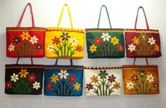 Flowers with Stems Patch Work Hand Made Beautiful Bright Tote bag with Mirrors