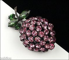 Vintage Schreiner Japanned Emerald Green Rose Rhinestone Strawberry Brooch Pin