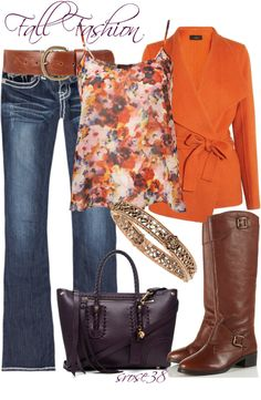 """""""Orange for Fall"""" by srose38 on Polyvore"""
