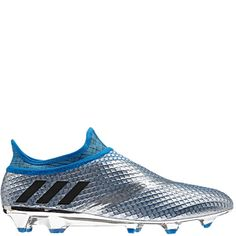 38993174be0b adidas Messi 16+ Pureagility FG Silver Metallic/Core Black/Shock Blue Firm  Ground Cleats - model S76487