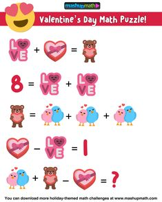 Are you looking for fun, free, and printable Valentine's Day Math Activities for elementary and middle school? Math Coloring Worksheets, Printable Math Worksheets, Free Printable, Maths Puzzles, Math Activities, Math Patterns, Math Talk, Math Challenge, Free Math