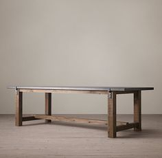 """RECLAIMED WOOD & ZINC-TOP STRAP DINING TABLE $1295 - $1695 A well-chosen combination of old and new, our handcrafted table pairs reclaimed timbers with a zinc metal-sheet top and the clean lines of contemporary design. Show product details... DIMENSIONS 72""""L x 36""""W x 31""""H 84""""L x 36""""W x 31""""H 96""""L x 40""""W x 31""""H 108""""L x 40""""W x 31""""H 120""""L x 40""""W x 31""""H"""