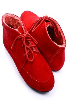 faux-fur lined red velvet booties.  have a comfy valentine's day.