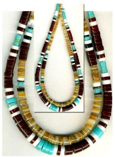 """Southwest Heishi Beads Block Turquoise Natural Shell 2 Str 17"""" 3-10mm Tucson Gem Show, Shells, Beaded Necklace, Gems, Turquoise, Natural, Ebay, Jewelry, Design"""