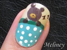 Nail Art Tutorial - Sleeping Bear-UT (Beauty) Animal Design for short nails Home Made DIY