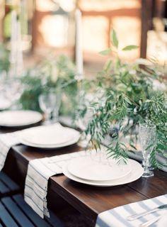 Organic greenery centerpiece arrangements. #wedding #tablescape #centerpiece