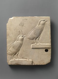 Relief plaque with two quail chicks. Late Period–Ptolemaic Period, 400–30 B.C. - Limestone