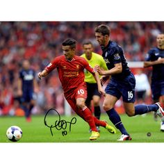 Philippe Coutinho In Action Signed Liverpool Photo vs Manchester United 12x16 Photo (Icons Auth & Third Party Holo)