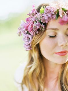 The perfect radiant orchid colored flower crown: http://www.stylemepretty.com/2014/09/23/15-ways-to-infuse-radiant-orchid-into-your-fall-wedding/