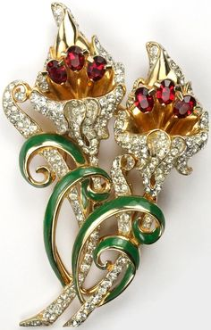 Coro Gold Pave Topaz and Enamel Swirls Double Lily Flowers Duette