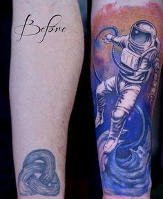 gravenimagetattoo: Started this astronaut forearm cover-up piece on Steven last week. Artist: Paco Dietz Studio: Graven Image Tattoo, Santa Clara CA