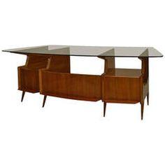 Mid-Century Italian Bowed Glass Top Mahogany Desk by Gio Ponti