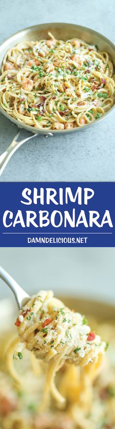 Shrimp Carbonara - Restaurant-quality pasta made right at home in 25 minutes. Not to mention the creamy sauce with crisp bacon and tender-juicy shrimp! Shrimp Carbonara Donna Baker Food Shrimp Carbonara - Restaurant-quality pasta made ri Fish Recipes, Seafood Recipes, Dinner Recipes, Cooking Recipes, Shrimp Pasta Recipes, Recipies, Shrimp Dishes, Pasta Dishes, Fish Dishes