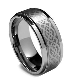 Tungsten Ring Direct - Tungsten Ring for Men, Laser Celtic Classy, High Polish Step Edge, 8MM, $24.99 (http://www.tungstenringdirect.com/tungsten-ring-for-men-laser-celtic-classy-high-polish-step-edge-8mm/)