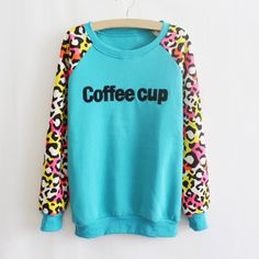 Letter Print Long Sleeves Color Block Cotton Blend Casual Style Leopard Sweatshirt T-Shirt For Women (LAKE BLUE,ONE SIZE) | Sammydress.com