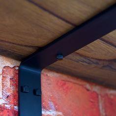 Shelf Bracket No1 Right Angle No Lip No Gusset Heavy Duty Black Steel Timber Shelf Brick Wall Detail