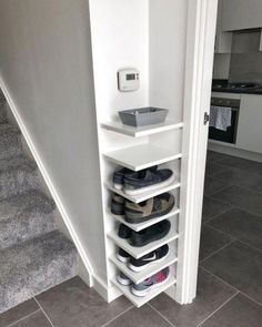 Shoe Storage Our house has a really small entryway meaning theres not much room for things like shoe. ideas small stairs Shoe Storage Our house has a really small entryway meaning theres not much room for things like shoe… Diy Shoe Rack, Shoe Racks, Diy Shoe Organizer, Shoe Rack Holder, Shoe Organiser, Small Space Bedroom, Bedroom Ideas For Small Rooms, Small Space Living, Small Livingroom Ideas