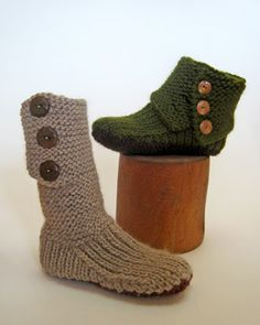 knitted boots -- would be lovely to wear around the house in the winter, with a nice big mug of hot chocolate, watching the snow fall.  Now, to advance my knitting skills by next winter!