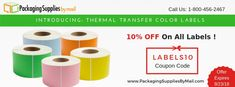 save 10% on all labels - Thermal transfer labels, perforated labels, barcode labels