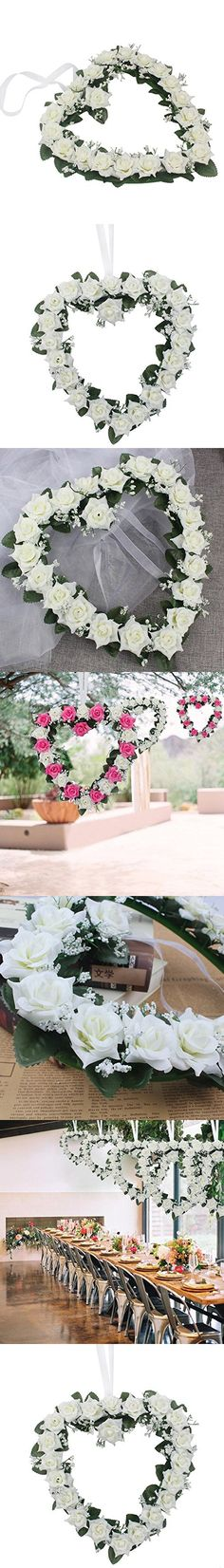 Adeeing 3PCS Heart-Shaped Rose Door Wall Hanging Wreaths Wedding Festival Decoration White