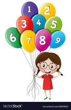 Cute girl holding balloons with numbers Royalty Free Vector Pop Art Drawing, Drawing For Kids, Painting For Kids, Classroom Wall Decor, Classroom Walls, Cartoon Sketches, Cartoon Pics, Girl Holding Balloons, Art Room Posters