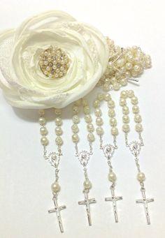 12 pcs Pearl First communion favors Recuerditos Bautizo 12pz/ Mini Pearl Rosary Baptism Favors