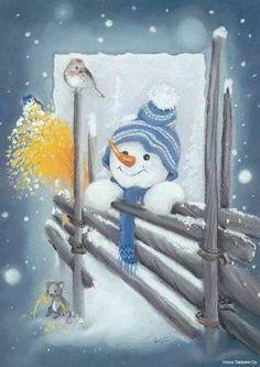 christmas paintings FOR TRADE Luminen portinvartija Frosty The Snowmen, Cute Snowman, Snowman Crafts, Christmas Snowman, Winter Christmas, Vintage Christmas, Christmas Crafts, Christmas Decorations, Christmas Ornaments