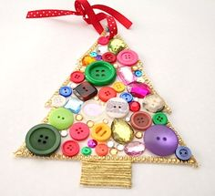 Made this but with a star wooden ornament purchased from Michaels. Used pink, lime green and deep burgundy buttons. Very cute.