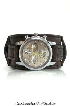 Leather Cuff Watch Mens Wrist Watch Leather by CuckooNestArtStudio, $89.00