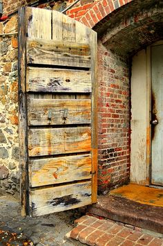 On the back streets of Savannah on the alley called the Factory Walk is so many interesting and old doors.